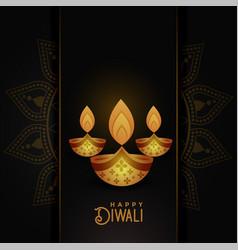 Beautiful happy diwali dark greeting background vector