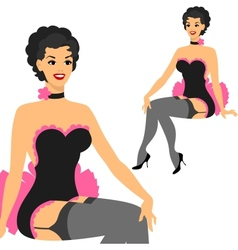 Beautiful pin up girl 1950s style vector image