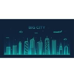 Big city skyline Trendy linear vector