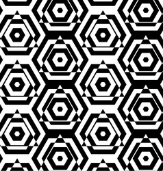 Black and white alternating triangles cut through vector image