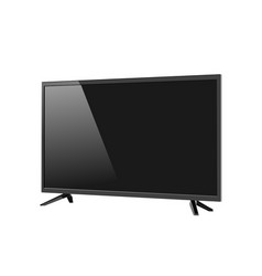 Black led tv television screen blank isolated on vector