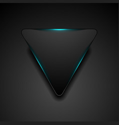 black triangle with glowing blue light abstract vector image
