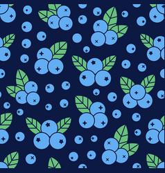 blueberry seamless pattern with icons blue vector image