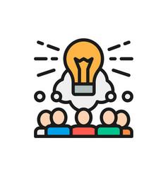 Brainstorm teamleader idea flat color line icon vector