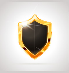 bright metal golden glossy shield with black blank vector image