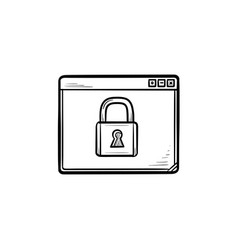 browser window with padlock hand drawn outline vector image