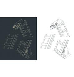 Bucket elevator drawings vector