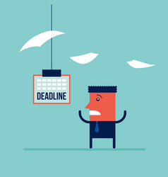 businessman afraid of the deadline hard work a lot vector image