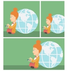 Businessman sitting near Earth globe vector