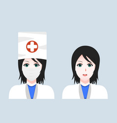 cartoon face a woman doctor in a mask a set of vector image