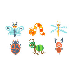 Cartoon insects with ladybug and butterfly vector