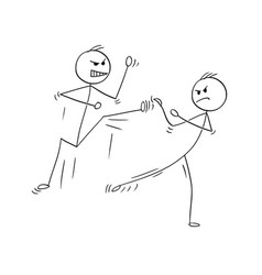 cartoon of karate or kung fu fight or training vector image
