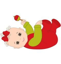 Christmas Baby Girl with Rattle vector image