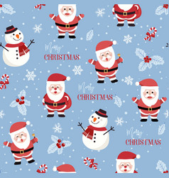 Christmas seamless pattern with santa and snowman vector