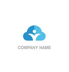 cloud sign people logo vector image