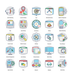 collection of digital and internet marketing flat vector image