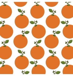 Colorful pattern of oranges with stem and leafs vector