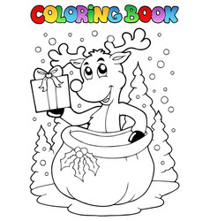 Coloring book reindeer theme 2 vector