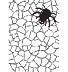 coloring page with spider and web vector image