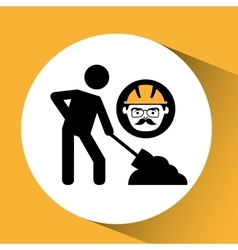 Construction man and symbol worker graphic vector