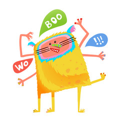 Crazy yellow talking monster children cartoon vector