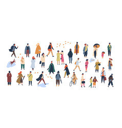 Crowd of tiny people dressed in autumn clothes or vector