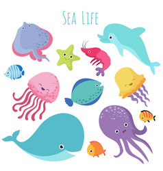 Cute baby sea fishes cartoon underwater vector