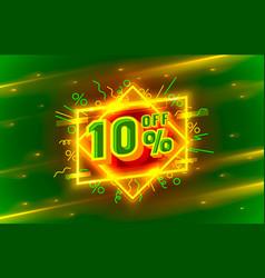 cyber 10 off sale banner light neon flyer retro vector image