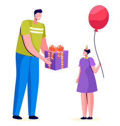 Daughter father with present box and balloon vector