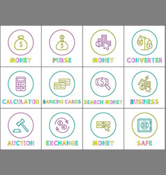 different banking operation lineout style icon set vector image