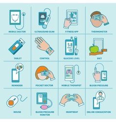 Digital health icons set flat line vector image