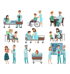 doctors patients characters set vector image
