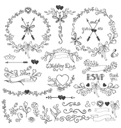 Doodles floral decor setBorderselementswreath vector image