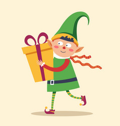 Elf in rush to deliver gift box to child christmas vector
