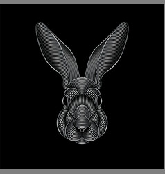 engraving stylized silver rabbit portrait on vector image