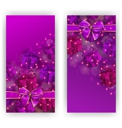 Festive background with gifts bokeh vector image vector image