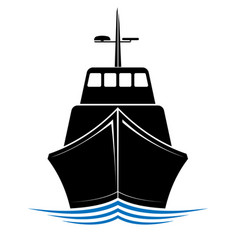 frontal view of a floating ship tug or boat logo vector image