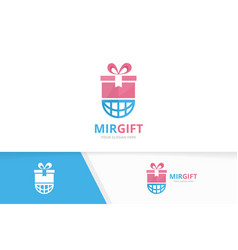 gift and planet logo combination present vector image