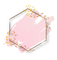 Golden shiny vintage hexagon frame with brush vector
