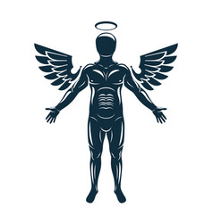 Graphic muscular human made using angelic bird vector