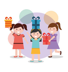 group of happy girls with presents box vector image