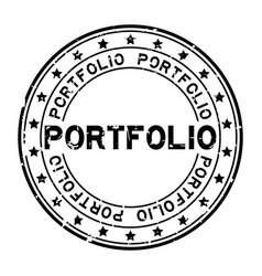 Grunge black portfolio word with star icon round vector