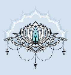 Hand-drawn lotus in east style vector
