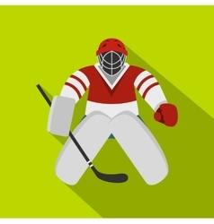 Hockey goalkeeper icon flat style vector
