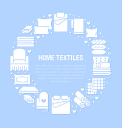 home textiles circle template with flat glyph vector image