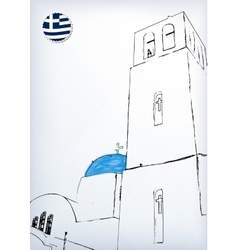 Iconic church with blue cupola vector