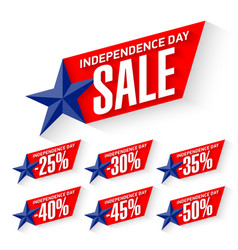 Independence day sale discount labels vector