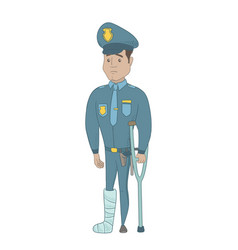 Injured young hispanic policeman with broken leg vector