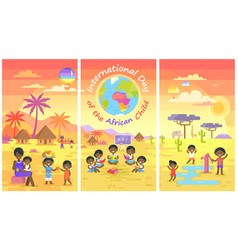 International day of african child posters set vector