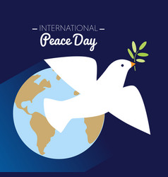 international peace day dove flying with olive vector image